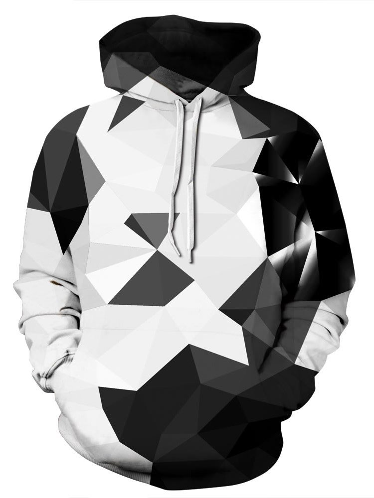 Long Sleeve Geometric Abstract Graphic Pattern 3D Painted Hoodie