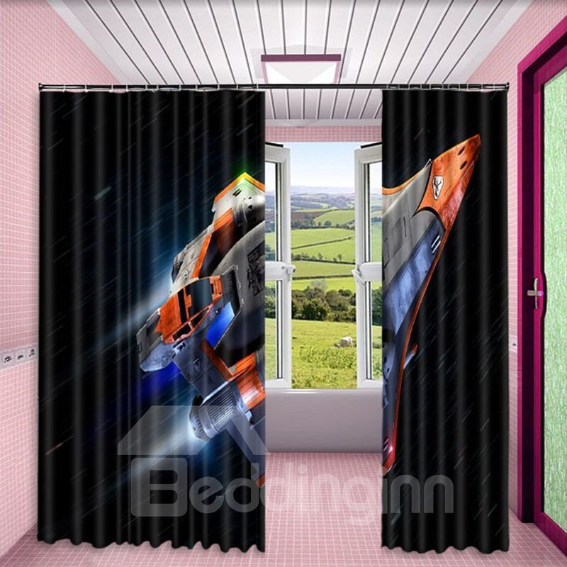 3D Airship Printed Custom Polyester Blackout Curtain for Living Room