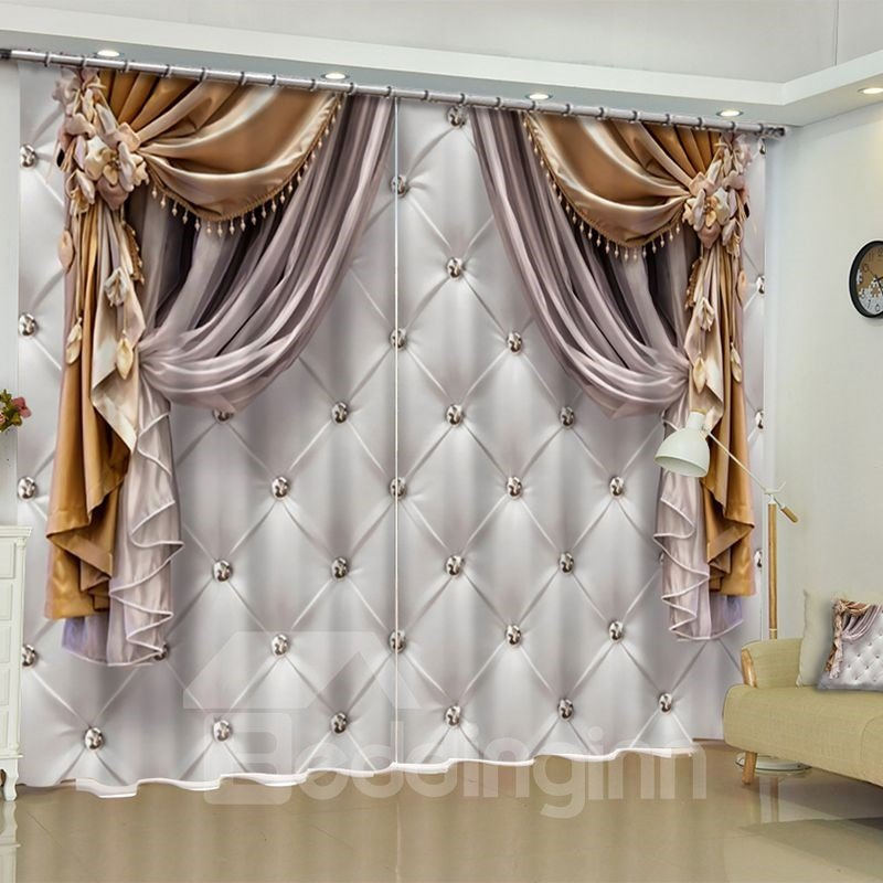 51 3D Imitated Elegant Shading Cloth Printed Custom Curtain For Living Room