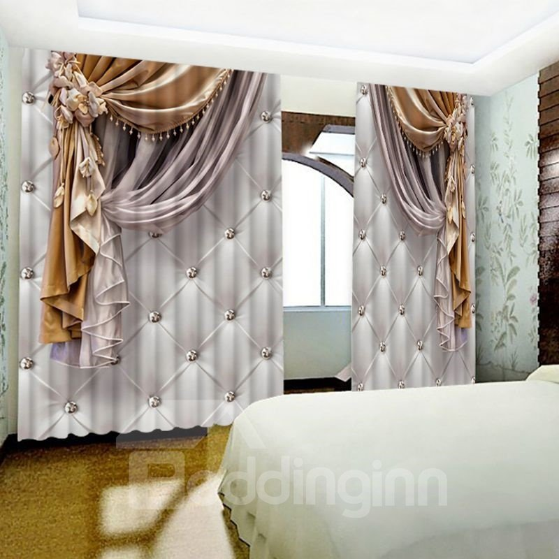 3D Imitated Elegant Shading Cloth Printed Custom Curtain for Living Room