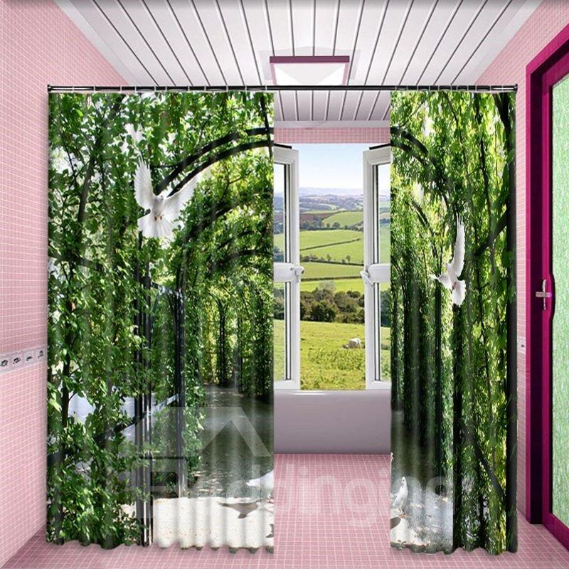 Lush Corridor and Flying Doves Printed 2 Panels Living Room Custom Curtain