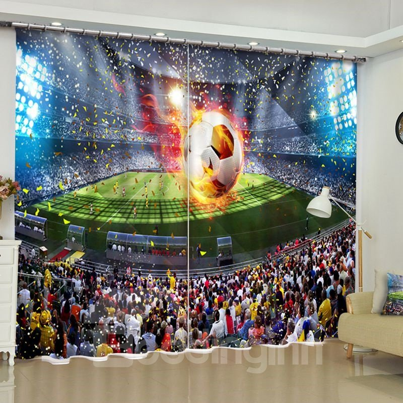 3D Football Banquet Printed Custom Polyester 2 Pieces Living Room Curtain