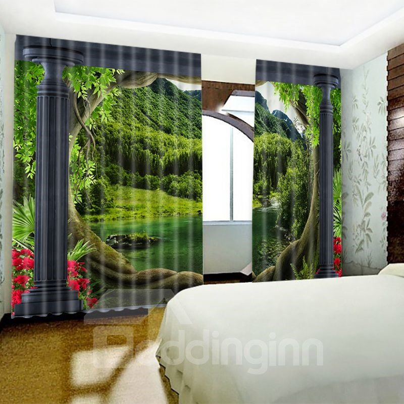 3D Lush Mountains and Waters Printed 2 Panels Living Room Window Drapes