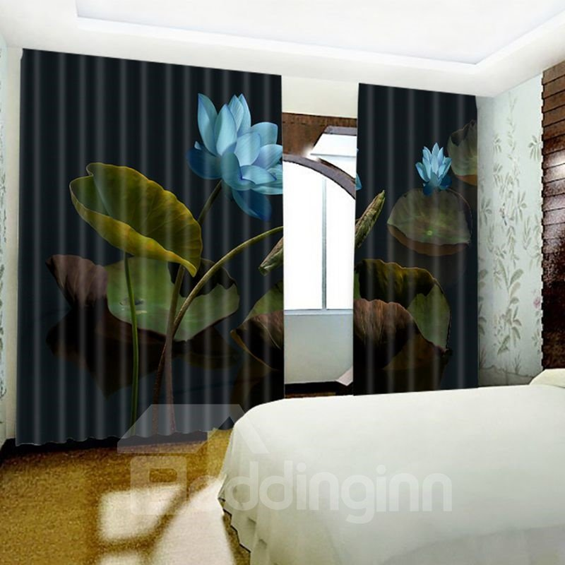3D Blooming Lotus in Dark Night Printed Country Style Custom Living Room Curtain