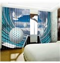 3D Doves Flying around High Buildings Printed Polyester Custom Decorative and Blackout Curtain