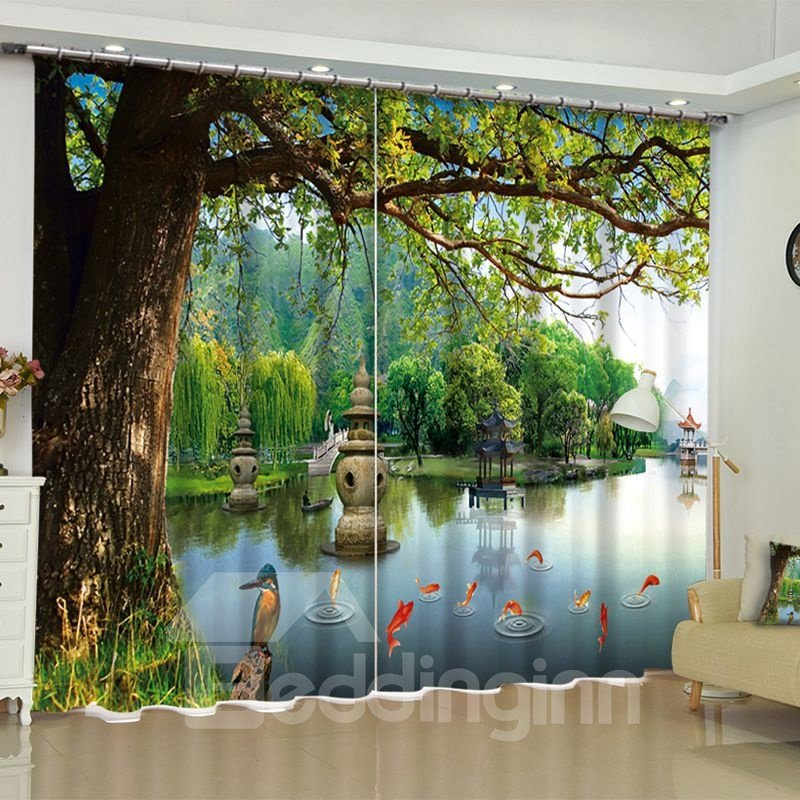 Image For 3D Peaceful Lake and Golden Fishes with Old Trees Printed 2 Panels Living Room Curtain