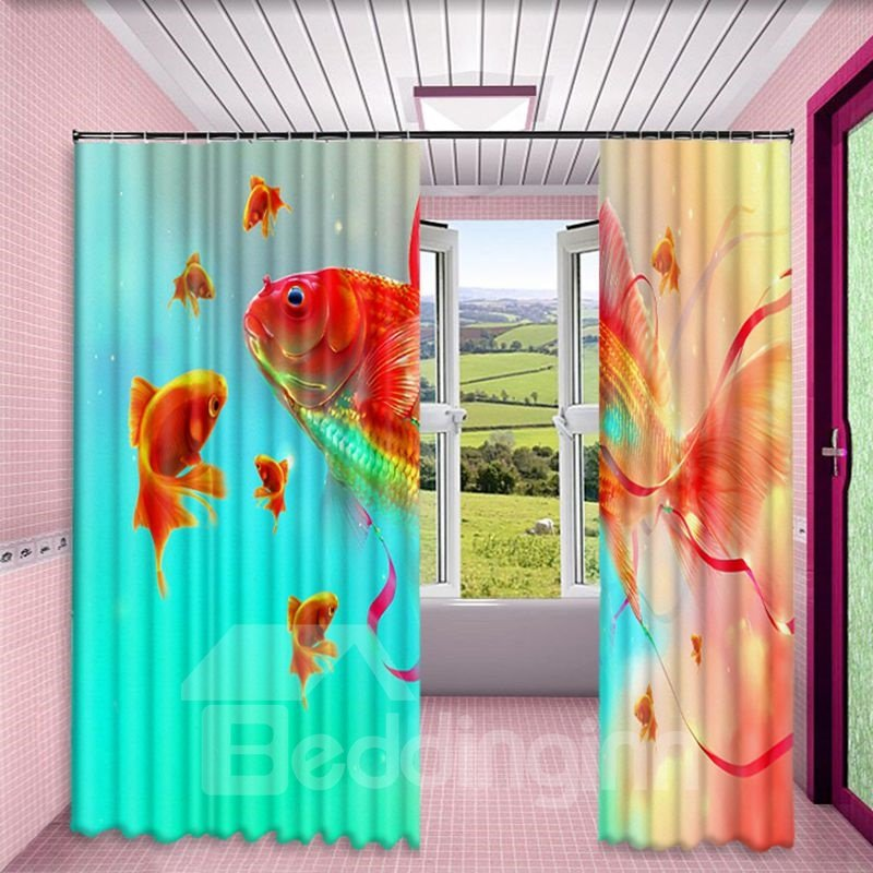 3D Vivid Golden Fishes Printed 2 Panels Decorative and Blackout Living Room Curtain