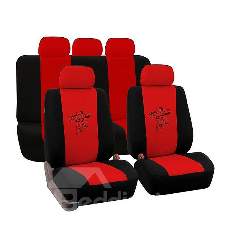 Environment-friendly Washable Durable Devil Skull Pattern Cloth Universal Car Seat Covers