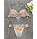 2 Piece Women Tassel Digital Printed Push up Padded Bikini Swimsuit