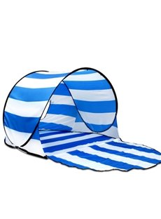 UV Protection Light Instant Pop-Up Cabana Beach Blue White Stripe Tent