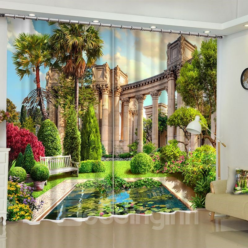 Grandiose Palace Garden Printed 2 Panels Living Room Pic