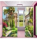 Grandiose Palace and Delicate Garden Printed 2 Panels Living Room Blackout Curtain
