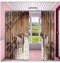 3D Lovely Deer in the Wooden Bridge Printed Custom Curtain for Living Room