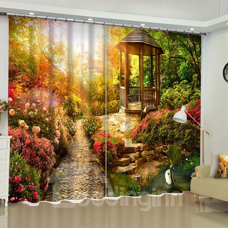 3D Romantic Garden and Soft Sunlight Printed Natural Scenery Custom Living Room Curtain