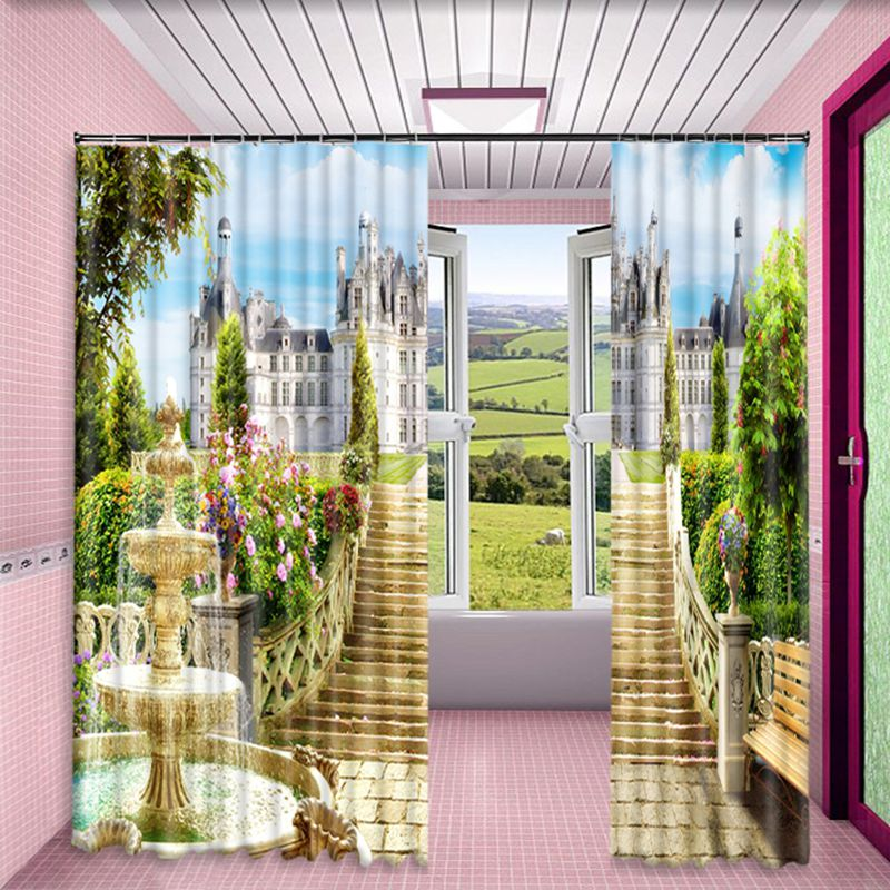 Grand and Retro Castles Printed Outstanding Masterpiece Custom Polyester Window Drape