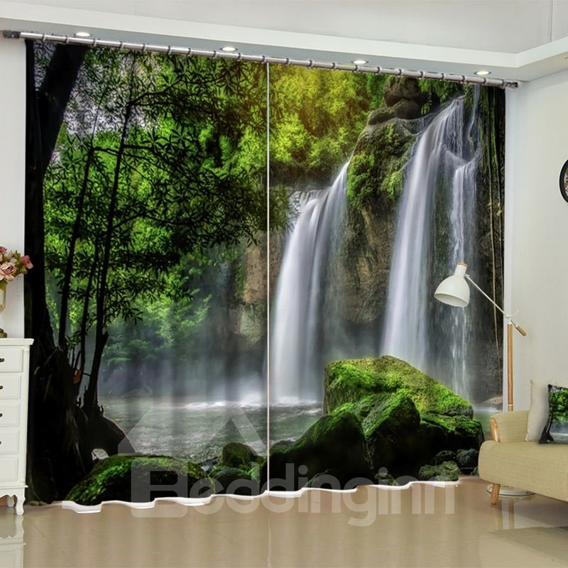 50 3D Rolling Waterfalls And Luxuriant Forest Printed 2 Panels Living Room  Blackout Curtain