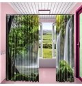 3D Rolling Waterfalls and Luxuriant Forest Printed 2 Panels Living Room Blackout Curtain