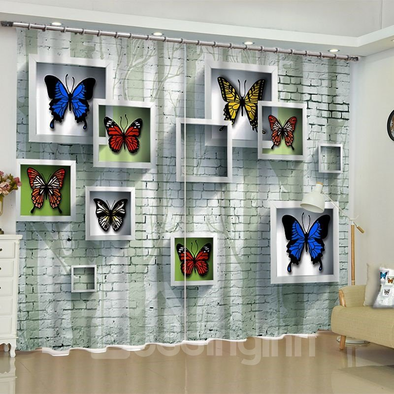 Image For 3D Walls with Photo Frame Printed Modern and Artistic Painting 2 Panels Custom Curtain