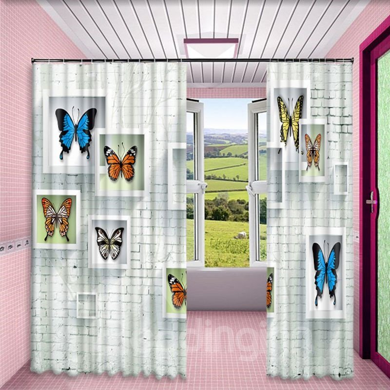 3D Walls with Photo Frame Printed Modern and Artistic Painting 2 Panels Custom Curtain