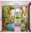 White Unicorns in the Lush Forest Printed Custom 3D Curtain for Living Room