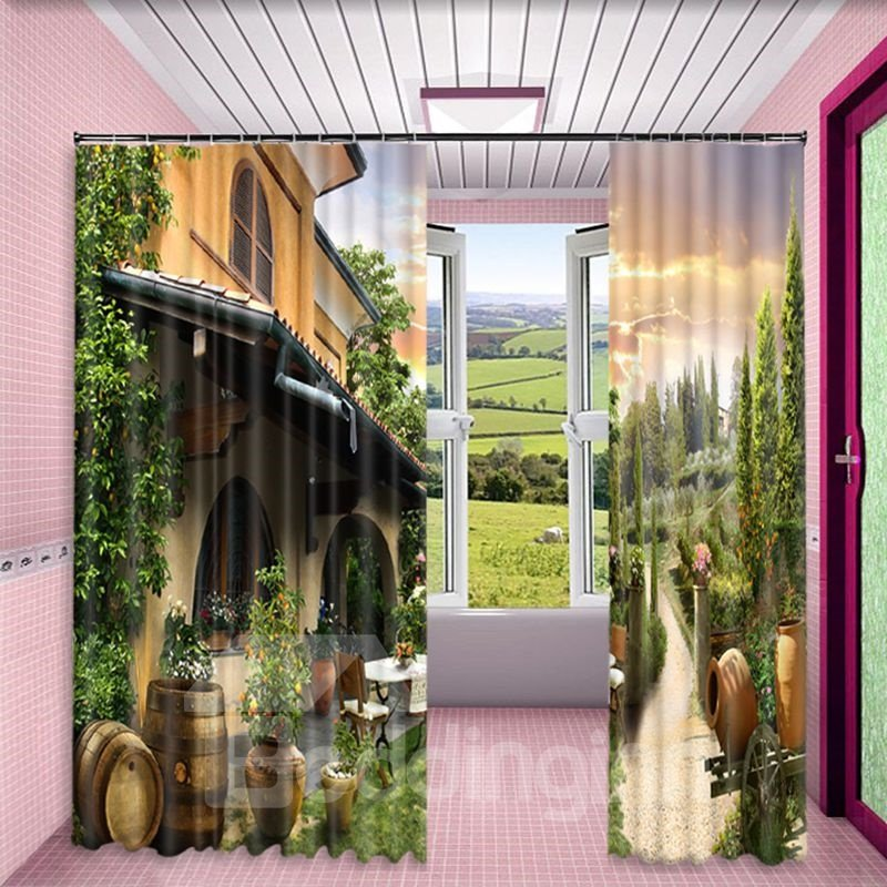Grand House with Green Plants Printed 2 Panels Custom Curtain for Living Room