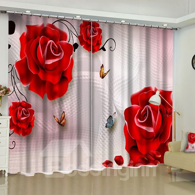 Fresh Red Roses Printed 2 Panels Custom Living Room Blackout 3D Curtain
