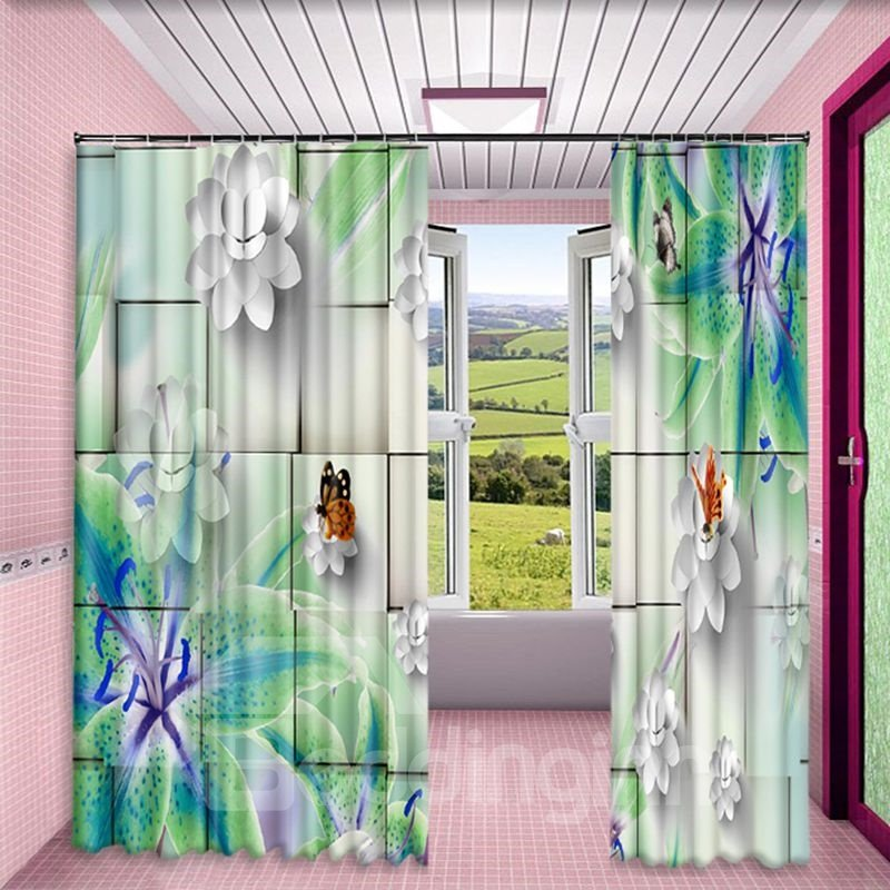 3D White Clean Flowers and Colorful Butterflies Printed 2 Panels Custom Living Room Curtain