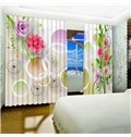 3D White Circles and Bright Colored Flowers Printed 2 Panels Living Room Curtain