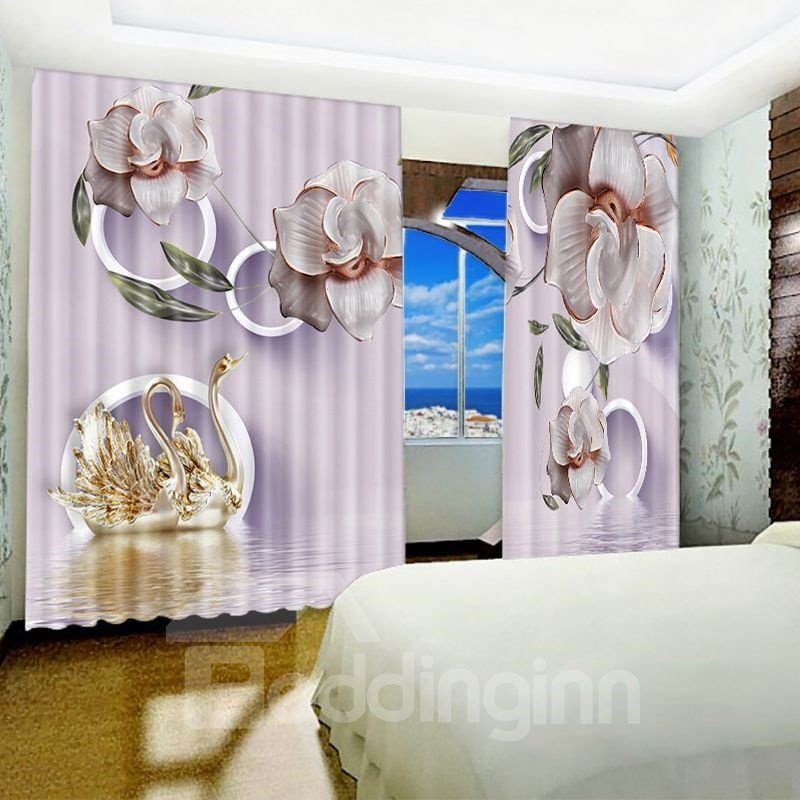 Light Purple Moth Orchid and Gooses Printed Blackout Custom Curtain for Living Room