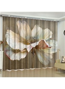 3D Ink Painting White Peony Printed 2 Pieces Custom Blackout Living Room Curtain