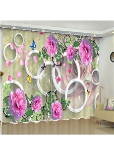Fresh Pink Flowers and White Circles Printed 2 Panels Pastoral Style Window Drape