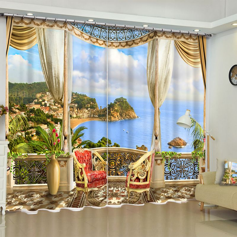 3D Luxury Leisure Pavilion With Blue Sea Printed Custom Living Room Curtain