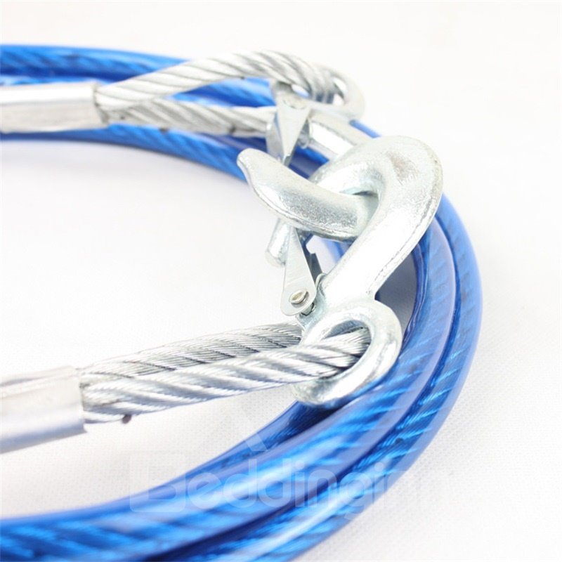 4 meters 5 tons Tow Strap Blue Towing Rope with 2 Safety Hooks Emergency