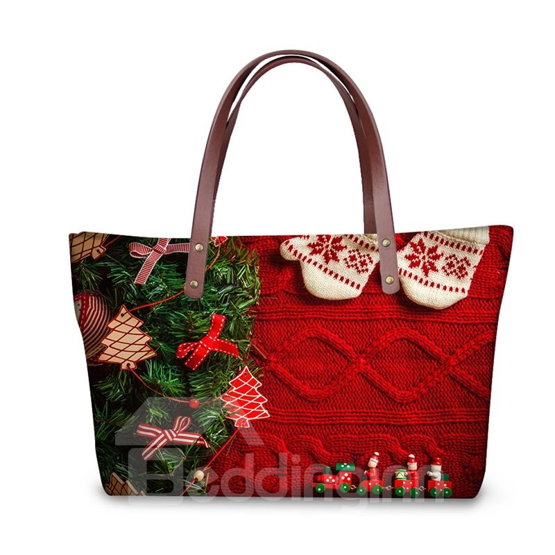 Christmas Tree Sock Waterproof 3D Printed Shoulder Handbag