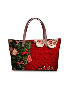 Christmas Tree Sock Waterproof 3D Printed Shoulder Handbag