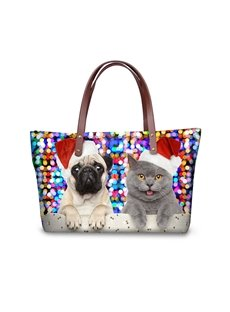 Christmas with Dog Cat Waterproof 3D Printed Shoulder Handbag