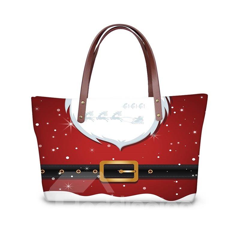 Christmas Santa Cloth Waterproof 3D Printed Shoulder Handbag