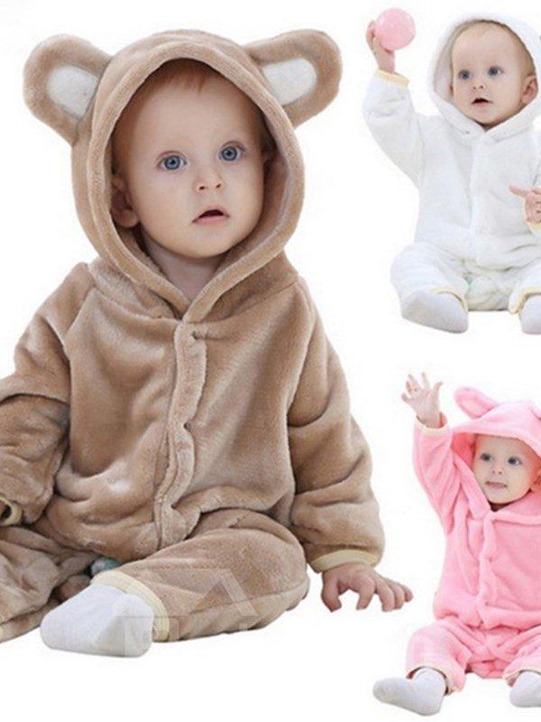 Bear Shaped Multi-Color Velvet Baby Jumpsuit