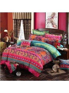 Luxury Bohemia Style Lightweight Ethnic Pattern 4-piece Zipper Bedding Sets Hard-wearing Colorfast Duvet Cover