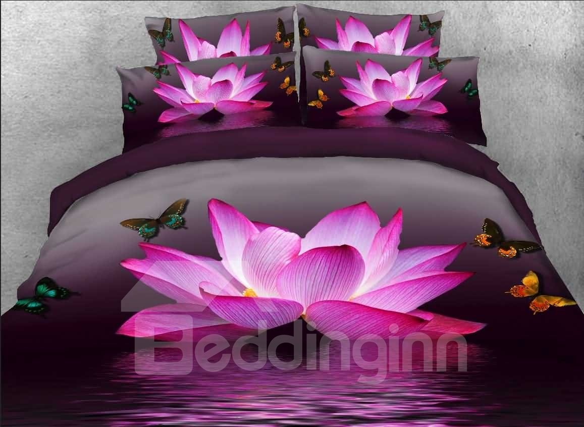 3d Pink Lotus Butterfly Printed 5 Piece Comforter Sets Pic