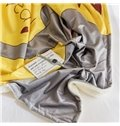 Elephant Printed Polyester Nordic Style Yellow Baby Blanket