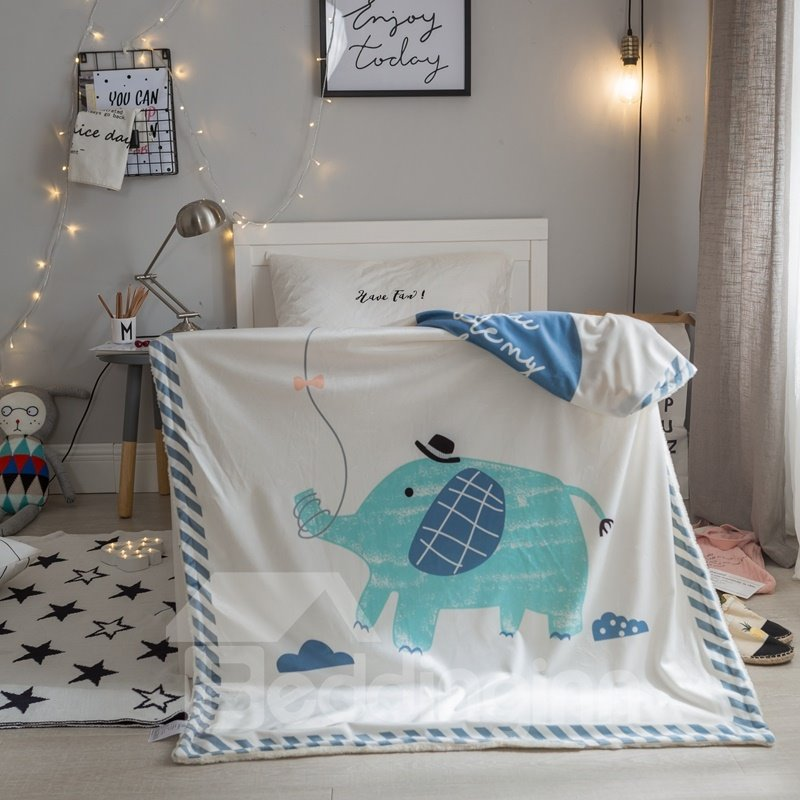 Elephant Printed Polyester Nordic Style White Baby Blanket