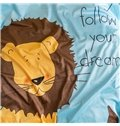 Lion Printed Polyester Nordic Style Blue Baby Blanket