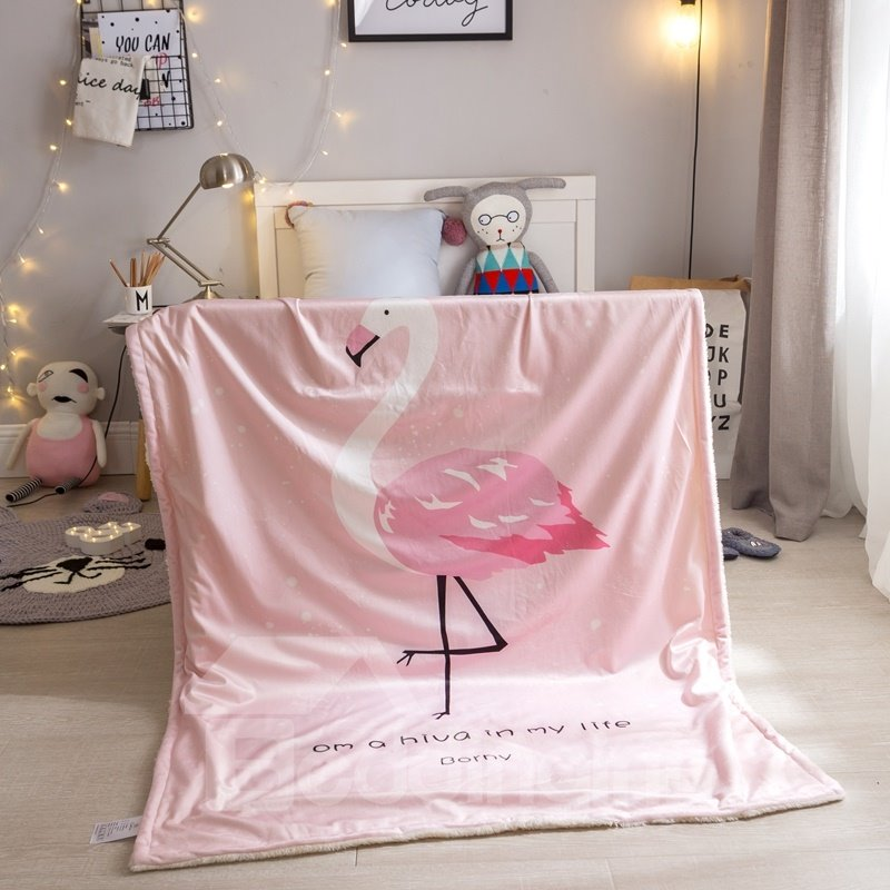 Flamingo Printed Polyester Nordic Style Pink Baby Blanket