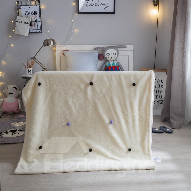 Pompons Decoration Polyester Nordic Style White Baby Blanket