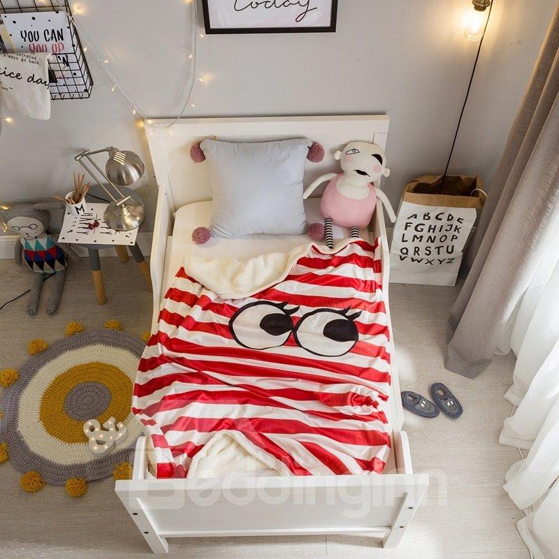 Big Eyes Stripes Printed Polyester Nordic Style Baby Blanket