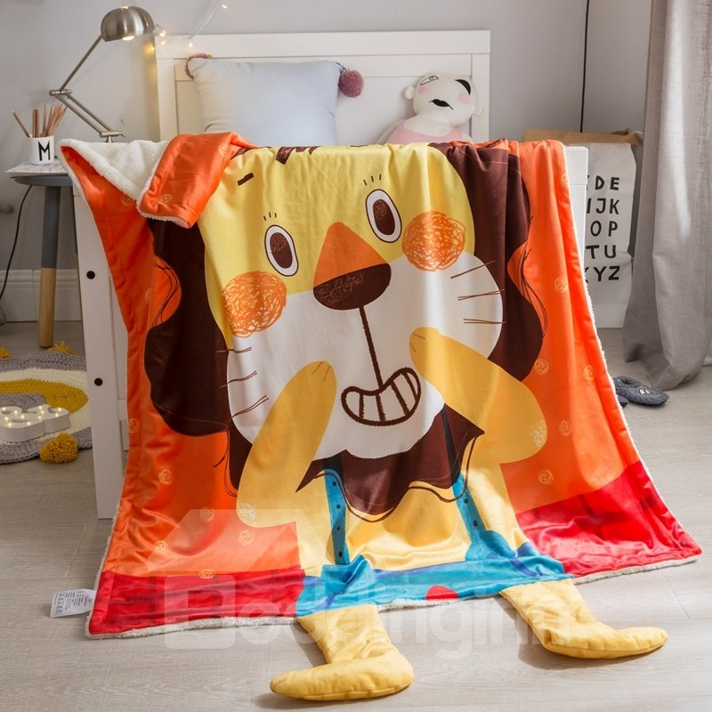 Lion Shaped Polyester Nordic Style Orange Baby Blanket