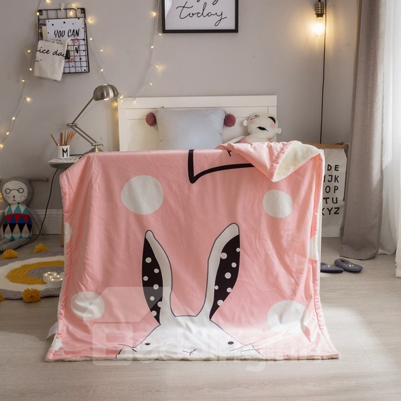 Rabbit Ears Printed Polyester Nordic Style Pink Baby Blanket