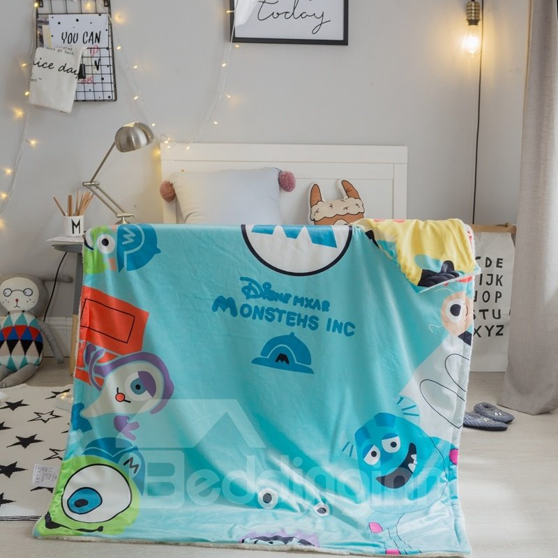 Monster World Printed Polyester Nordic Style Blue Baby Blanket