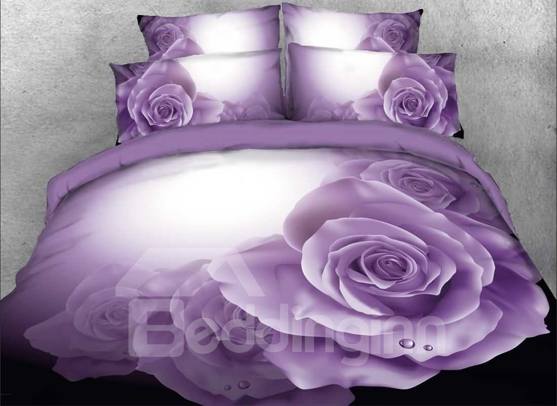 3d Dewy Purple Roses Printed 5 Piece Comforter Sets Pic